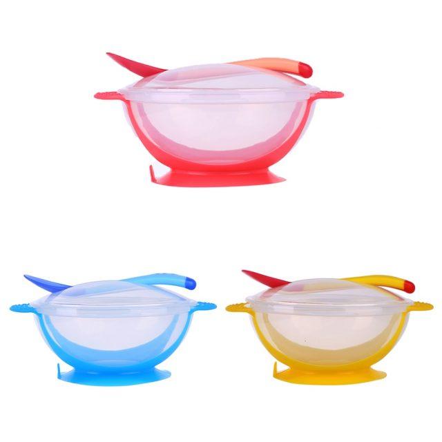 Conjunto de cuencos de colores y juego de cucharas sensibles a la temperatura